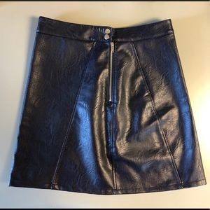 NWOT Navy Faux Leather Mini Skirt